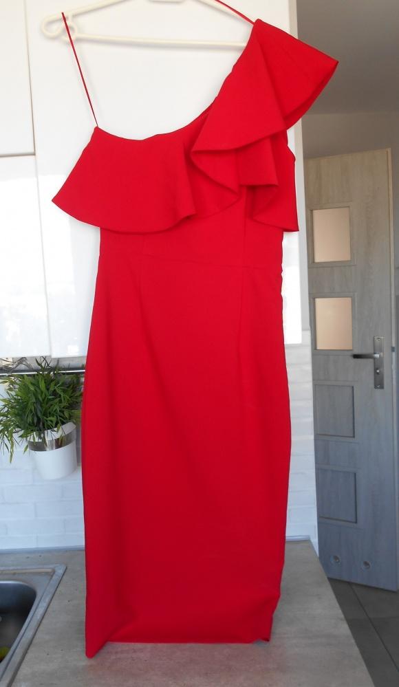 d09e9bbd65e76f Suknie i sukienki Zara nowa sukienka czerwona falbana na jedno ramię  hiszpanka elegancka wesele