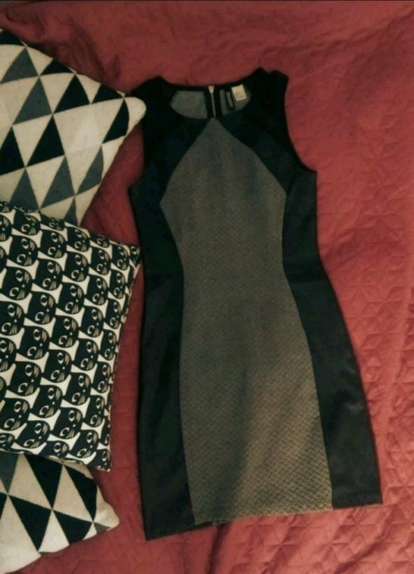 Elegancka czarnoszara sukienka mini rozm XS H&M