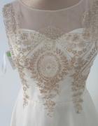 Złota rozkloszowana sukienka jak Lou...