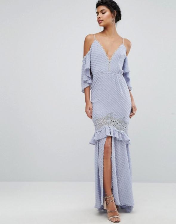 1d151818cf Asos maxi pastelowa błękitna koronka hafty w Suknie i sukienki ...