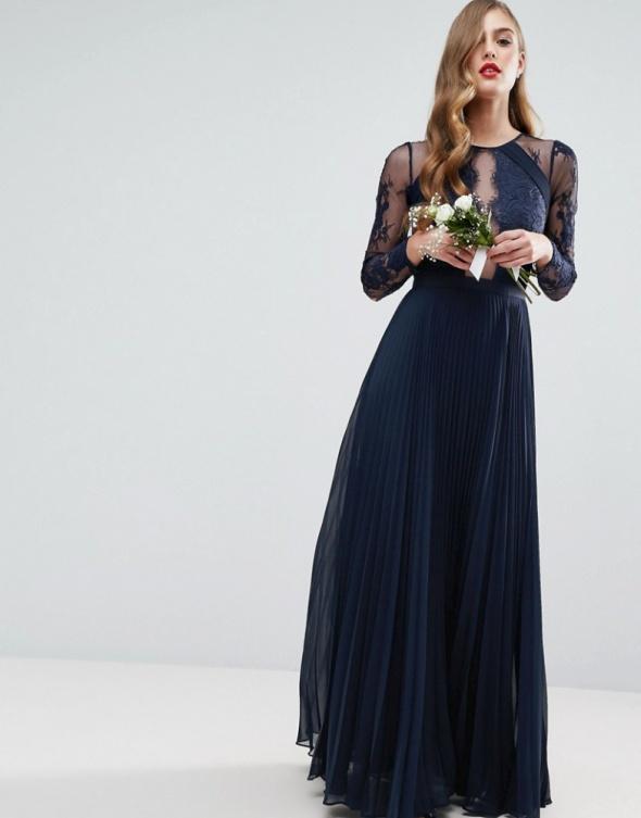 baf16093d1 Asos maxi granatowa plisowana koronka suknia w Suknie i sukienki ...