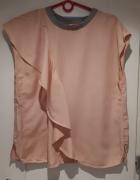 Next bluzka z falbanką pudrowy róż styl ZARA