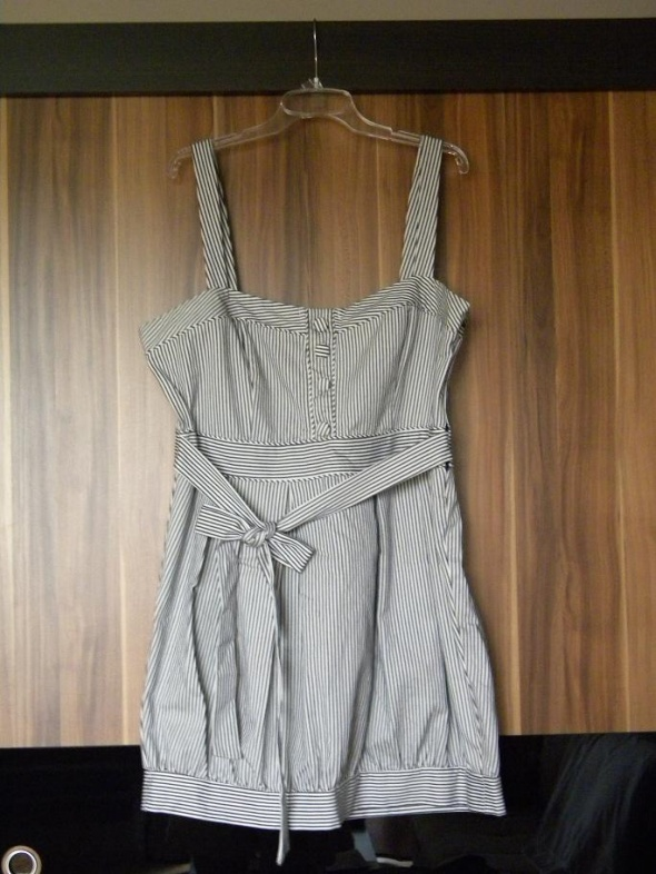 New Look sukienka w paski bombka z kakardą...