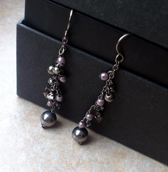 KOLCZYKI wiszące srebrne cyrkonie perły perełki...