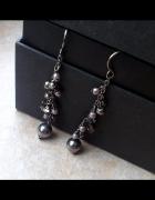 KOLCZYKI wiszące srebrne cyrkonie perły perełki