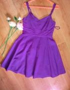 Principles rozkloszowana sukienka 38 M tiul fiolet...