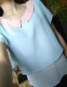 Crown urocza bluzka szyfonowa podwójna 38 M pastel...