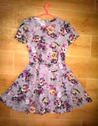 Primark rozkloszowana sukienka skater 36 S kwiaty...