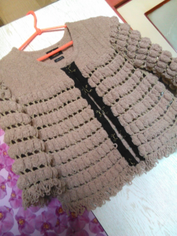 River Island beżowa narzutka sweter 36 38 frędzle...