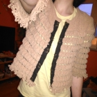 River Island beżowa narzutka sweter 36 38 frędzle