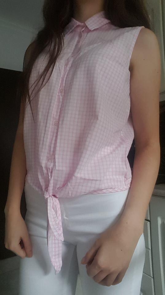 Koszula bez rękawów w różowo białą kratę z kołnierzykiem i wiąz...