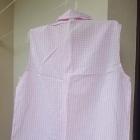 Koszula bez rękawów w różowo białą kratę z kołnierzykiem i wiązaniem u dołu XL Cropp Town Chillin