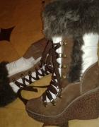 Nowe kozaki z futerkiem koturny Graceland...