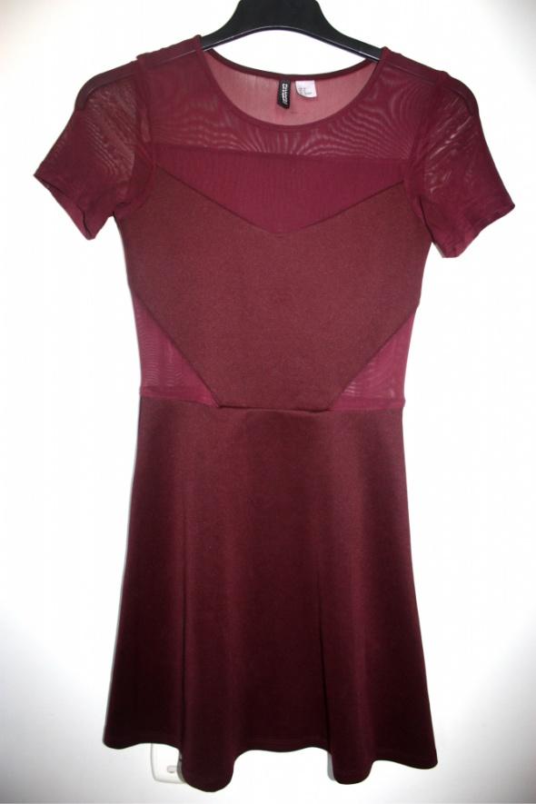 2d2eb0f0fd sukienka mini burgundowa bordowa HM 36 s w Suknie i sukienki - Szafa.pl