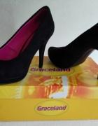 Szpilki czółenka platforma czarne Graceland 37...