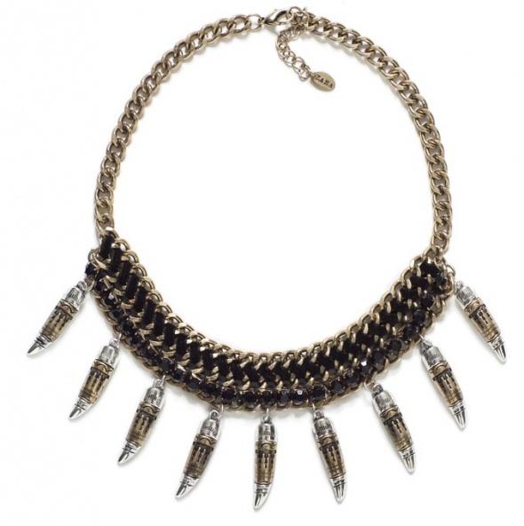 Zara naszyjnik kolia aztecki kły czerń złoto