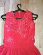 Czerwona sukienka jak Lou 34 koronka...