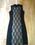 Nowa czarna sukienka top secret 38 koronka weselna...