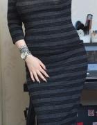 Nowa dzianinowa sukienka midi tuba obcisła bodycon minimalizm m...