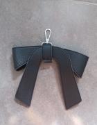 Brelok czarny skórzany wstążka do torebki do kluczy