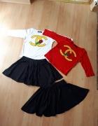 Nowy komplet dla dziewczynki bluzka i spódniczka chanel 86 92 c...