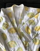 Szlafrok w cytryny z paskiem i kieszeniami nadruk print cytryny