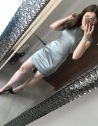 Elegancka krótka sukienka szaro srebrna stalowa Mango S M dopas...