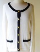 Sweter Biały Chanelka H&M M 38 Obszycia Złote Guziki...