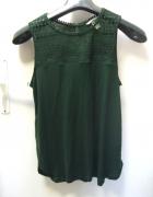 Zielony ażurowy top ażurowa koszulka zieleń butelkowa