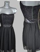 Wyjątkowa sukienka z koronką i szyfonem S...
