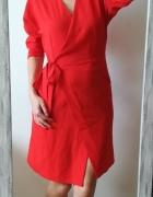 Topshop czerwona kopertowa sukienka S...