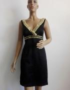 czarna satynowa sukienka z kryształkami