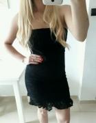 Sukienka czarna koronkowa dopasowana M