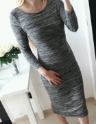 Atmosphere sukienka midi długa szara dopasowana M