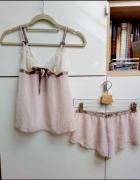 Bielizna nocna piżamka komplet biszkoptowy pudrowy róż