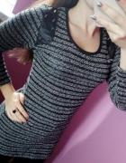 Sweter tunika ćwieki wstawki skóra XS S