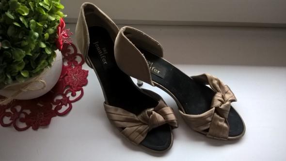 Brązowe Satynowe Sandały