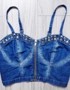 Krótki jeansowy dżinsowy top bralet dżety xs s...