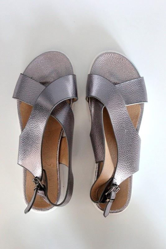 e3b2b19f Sandały sandały na platformie platforma srebrne wygodne miękka eko skóra  skóra zapinane skrzyżowane na krzyż