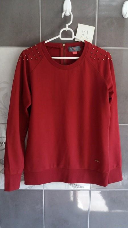 Bluzy Bluza damska bordowa z ćwiekami XL