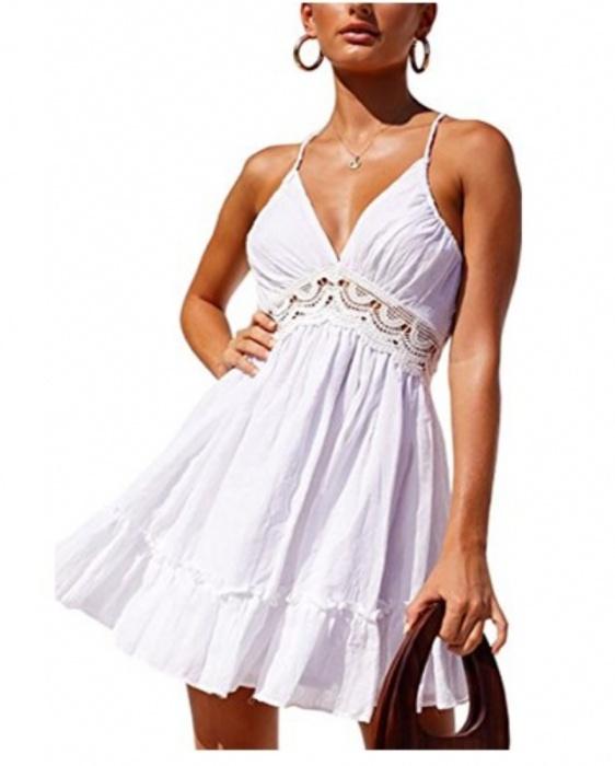 Śliczna biala sukienka bez pleców cudo s