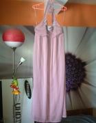 Nowa elegancka sukienka maxi 42 XL pudrowa szyfon...