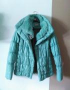Orsay miętowa kurtka zimowa 36 S futerko...