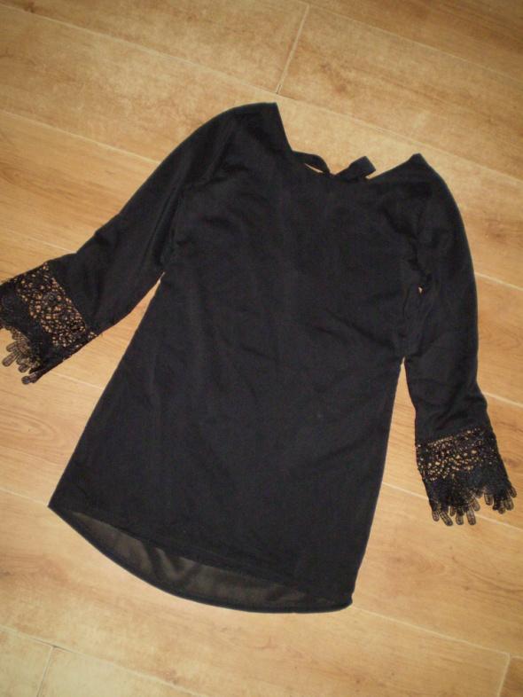 19a12b321e Suknie i sukienki Nowa czarna sukienka ażur 36 38 cut dłuższy tył s