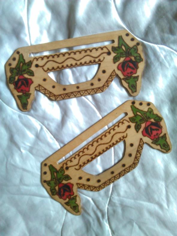 Torebki na co dzień Rączki do torebki klasyka folk drewniane w róże