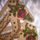Rączki do torebki klasyka folk drewniane w róże
