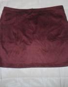 dorothy perkins bordowa mini spódniczka a la zamsz zip kiesznie