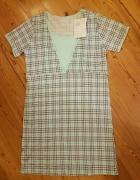Koszula nocna do karmienia błękitna w kratke L