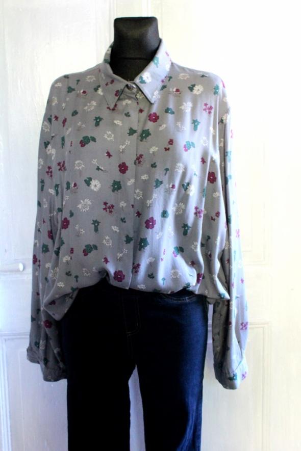 Oryginalna szara koszula w kwiaty r 46...