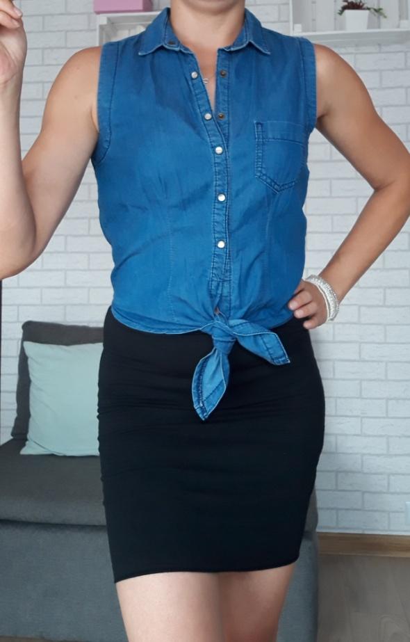 Bluzki Topshop bluzka z wiązaniem ale jeans